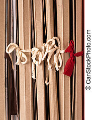 Archival documents folders, roped in the bows