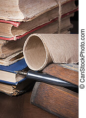 Archival documents in a book-depository are tied up by a...