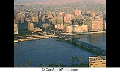 archival panorama of Cairo tower