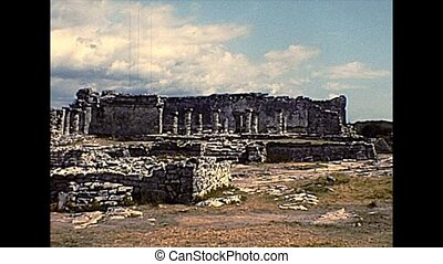 Ruins of Tulum archaeological site, a pre-Columbian Mayan walled town. Archival of Mexico in South America in the 1970s.