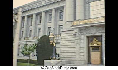 street view in Van Ness Ave of San Francisco City Hall of California in 1970s. Seat of government, and rebuild after 1906 earthquake. Archival of California, United States of America in 1976.