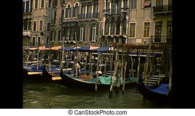 Archival Venice gondola boats - traditional gondola boats of...