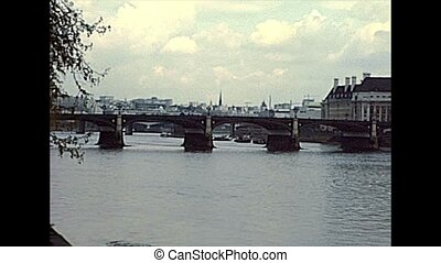 Westminster Bridge on River Thame. Archival of London city of England, UNITED KINGDOM in the 1970s.