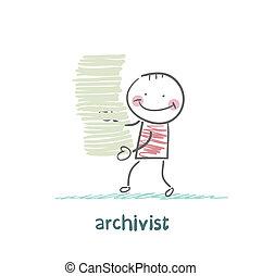 archivar, gleichfalls, a, stapel akten