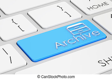 archive blue keyboard button, 3D rendering