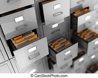 Business archive in folders, 3d illustration