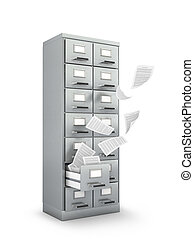 Archive cabinet with folders. 3d illustration