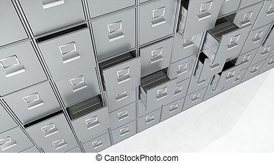 Archive cabinets 3D render