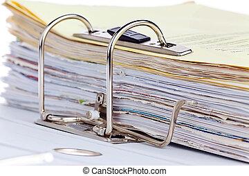 archive carpeta, con, documentos, y, documentos