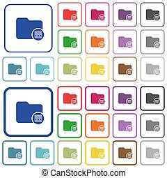 Archive directory outlined flat color icons