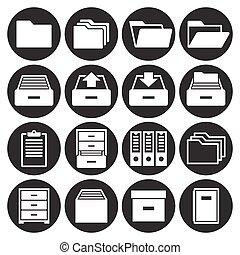 Archive, document icons set