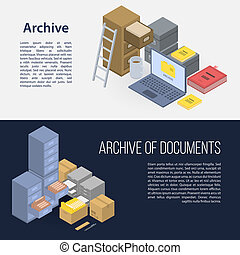 Archive file banner set, isometric style