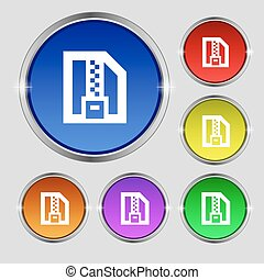Archive file, Download compressed, ZIP zipped icon sign. Round symbol on bright colourful buttons. Vector