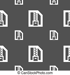 Archive file, Download compressed, ZIP zipped icon sign. Seamless pattern on a gray background. Vector