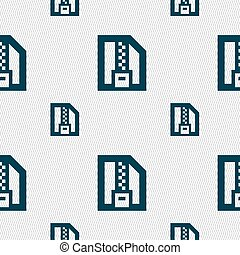 Archive file, Download compressed, ZIP zipped icon sign. Seamless pattern with geometric texture. Vector