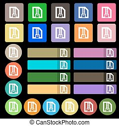 Archive file, Download compressed, ZIP zipped icon sign. Set from twenty seven multicolored flat buttons. Vector