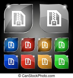 Archive file, Download compressed, ZIP zipped icon sign. Set of ten colorful buttons with glare. Vector