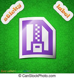 Archive file, Download compressed, ZIP zipped icon sign. Symbol chic colored sticky label on green background. Vector
