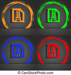 Archive file, Download compressed, ZIP zipped icon symbol. Fashionable modern style. In the orange, green, blue, green design.