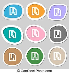 Archive file, Download compressed, ZIP zipped icon symbols. Multicolored paper stickers. Vector