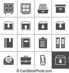 Archive icons - Archive icon set. Simplus series. Each icon...