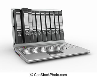 Archive. Laptop with folders instead of the screen. 3d