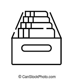 Archive line icon, concept sign, outline vector illustration, linear symbol.