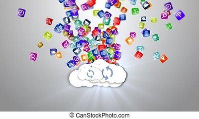 archive., média, data., stockage, nuage