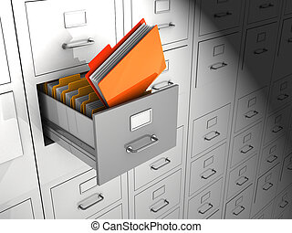 Archive  - Open box with important files, 3d image