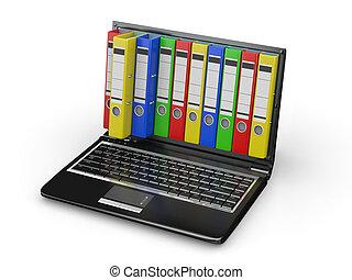 archive., ordinateur portable, à, dossiers, instead, de, les, écran