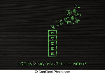 archive with documents going in or out, concept of organizing
