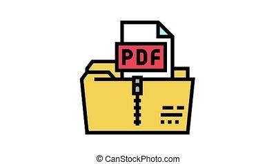archiver, animation, icône, pdf, couleur, fichier
