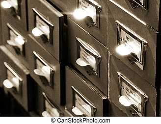 archives_1 - An office drawer in a library with a number of...