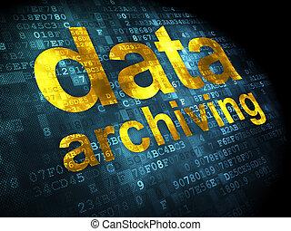 archiving, datos, concept:, plano de fondo, digital
