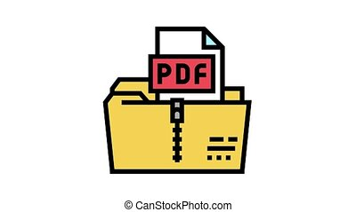 archiving pdf file animated color icon. archiving pdf file sign. isolated on white background
