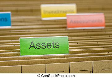 archivio appende, cartella, identificato, con, attività