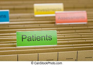 archivio appende, cartella, identificato, con, pazienti
