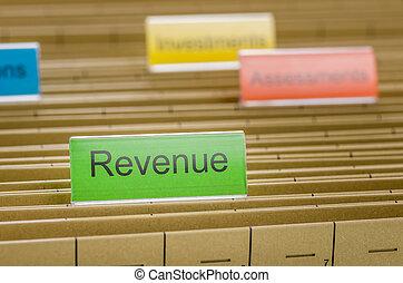 archivio appende, cartella, identificato, con, reddito