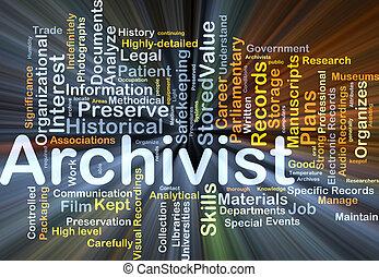 archivist, baggrund, begreb, glødende