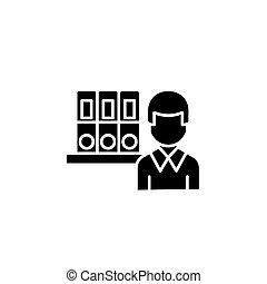 Archivist black icon concept. Archivist flat vector symbol, sign, illustration.