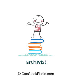 archivist stands on a pile of books