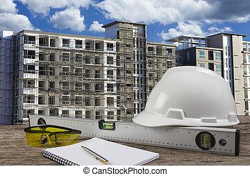 archivo, de, casco de seguridad, y, arquitecto, planta, en, madera, tabla, con, cielo azul, escena, y, construcción edificio