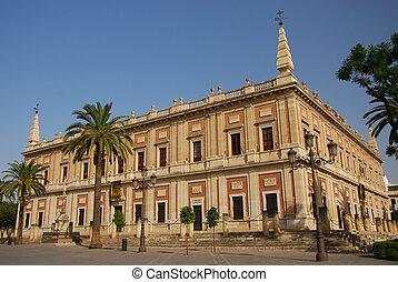 Archivo General de Indias, Seville - The Triunfo monument, ...