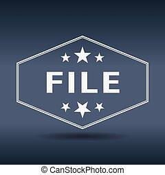 archivo, hexagonal, blanco, vendimia, estilo retro, etiqueta