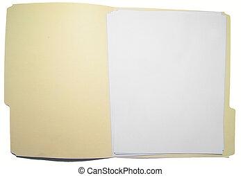 archivo, papel, hojas, blanco, carpeta, abierto