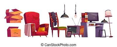 archivo, viejo, muebles, almacenamiento, casa, ático