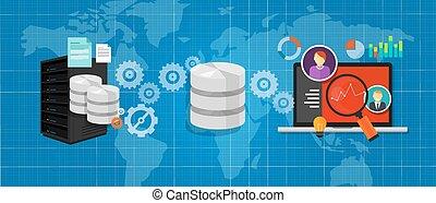 archivos, base de datos, medios, gráfico, análisis, integración, conectar, datos
