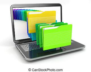 archivos de computadora, computador portatil, folders.