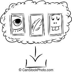 archivos, Descargue, contorneado, nube