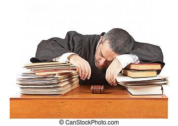 archivos, juez, encima, macho, sueño